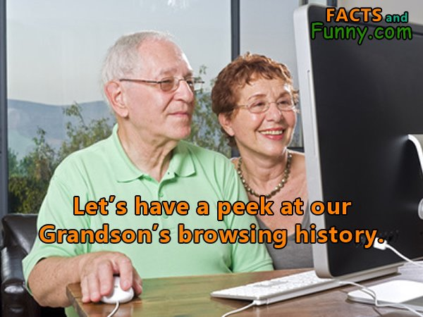 Photo about browsing history and grandma